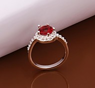 Personality Ruby Fashion High Quality Copper Plating Ms 925 Silver Set Auger Ring