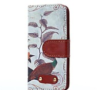 Bird Blackground Pattern Oxhide Character Retro PU Leather Case for iPhone4/4S