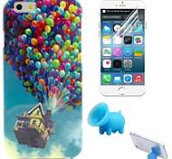 le motif de ballon TPU étui souple avec support et film de protection pour l'iphone 6