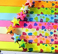 2 x 30 PCS  Fragrance Fluorescent Effect Heart Pattern Lucky Star Origami Materials (Random Color)