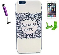 Because Cats Pattern PC Hard Case with Stylus Pen and Screen Protector for iPhone 6