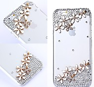 DIY Flowers with Rhinestone Pattern Plastic Hard Cover for iPhone 6