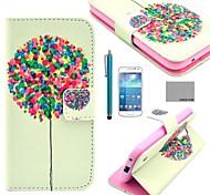 funda de piel de coco patrón árbol fun®balloon pu con protector de pantalla y el lápiz para mini i9190 Samsung Galaxy S4