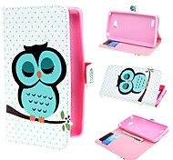 Sleeping Owl Design Leather Case Cover with Stand and Card Slot for LG L80 Dual