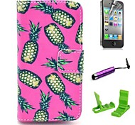Pink Pineapple Pattern PU Leather Case with Screen Protector and Stylus for iPhone 4/4S
