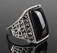 Vintage Punk Silver Alloy Black Resin Men's Ring