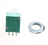 50K 6-pin Double Potentiometer / Volume Potentiometer - Silver + Green
