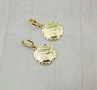 Banhados a ouro 18k cavalo moeda brincos-167