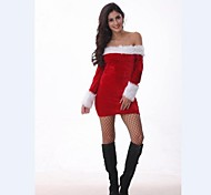 Strapless Velvet Women Santa Claus Dress Christmas Costume