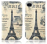 Retro Tower PU Leather Full Body Cover with Stand and Card Slot for iPhone 4/4S
