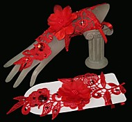 Wrist Length Fingerless Glove Tulle Bridal Gloves