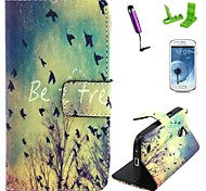 Be Free Pattern PU Leather Case with Screen Protector and Stylus for Samsung Galaxy S4 Mini I9190