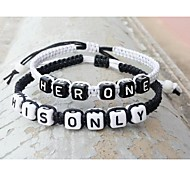 Classic Simple One Only Black White Charm Bracelets(2 Pcs)