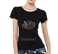 Personalized Rhinestone T-shirts Football Pattern Women's Cotton Short Sleeves