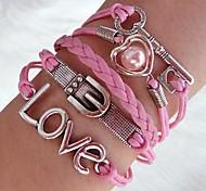Western Fashion 20cm Women's Pink Silver Alloy Wrap Bracelet(1Pc)