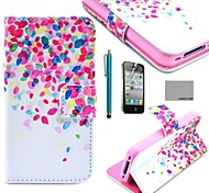 COCO FUN® Colorful Dots Pattern PU Leather Full Body Case with Screen Protector for iPhone 4/4S