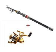 2.1 Carbon Sea Fishing Medium Fishing Rod & Reel Combos Fishing Reel 6BB AF4000 5.1:1 Spinning Fishing Reels