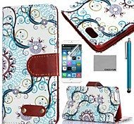 COCO FUN® Retro Water Flower Pattern PU Leather Full Body Case for iPhone 6 6G 4.7 with Screen Protecter and Stylus