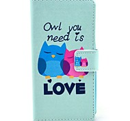 Owl You Need Love Pattern PU Leather Full Body Cover with Card Slot for Nokia Lumia N630