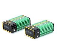 9v batteria 300mAh 6F22 per multimetro microfono calibro di prova del cavo 2 pezzi