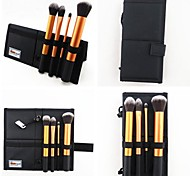 4PCS Golden Nylon Hair Aluminium Handle Makeup Brush Set with Carrier&Stand 2in1 Canvas Case for Household&Travel