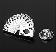 Poker Card Spade Royal Straight Flush Silver Black Men's Lapel Pin Emblem Badge