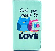 COCO FUN® Fall in Love Owl Pattern PU Leather Full Body Case with Screen Protector and Stylus for Nokia Lumia N625