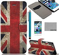 COCO FUN® UK Flag Pattern PU Leather Full Body Case for iPhone 6 6G 4.7 with Screen Protecter, Stand and Stylus