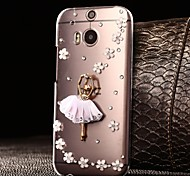 DIY Blooming Flowers and Dancer with Rhinestones Pattern Plastic Hard Case for HTC One M8