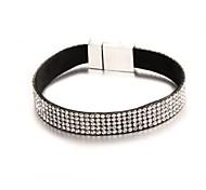 3D Bling Bling Five Row Crystal Leather Megnetic Clasp Tennis Bracelet