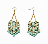 Fashion Light Green Water Drop Resin Gold Plated Tassel Earrings (1 Pair)