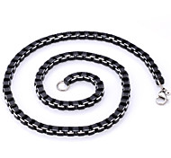 U7® Cool Black Box Chains Aluminium Alloy Necklace High Quality Men's Jewelry 6MM