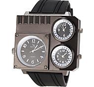 trois fois la montre-bracelet la bande zones de silicone de quartz pour hommes (couleurs assorties)