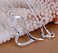 Charming Silver Rhinestone Heart Shape Women's Pendents