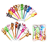 5PCS Cute Plush Cartoon Animal Ballpoint Pen(Random Color)
