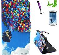 casa balloon modello pu custodia in pelle con la protezione dello schermo e lo stilo per mini i9190 Samsung Galaxy S4