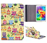 Colorized Owls 360 Rotating Elastic Belt Flip Stand PC+PU Leather Case for Samsung Galaxy Tab S 8.4 T700