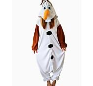 Kigurumi Pajamas Snowman Leotard/Onesie Halloween Animal Sleepwear White Patchwork Polar Fleece Kigurumi Unisex Halloween
