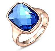 Noble 18K Rose/White Gold Plated Jewelry Use Shining Austria Crystal Blue Zircon Diamond Ring