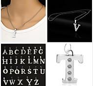 Long Lasting Silver Ball Chain With Bigger Alphabet Silver Zinc Rhinestone Pendant Necklace(1 Pc)