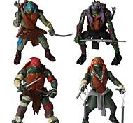 ninja turtles figuras de ação de movimento articular definir brinquedos com luz LED (4pcs)