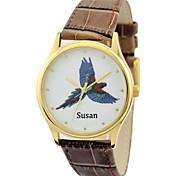 relógio unisex personalizado just2you movimento cidadão com design pássaros da cor