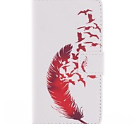 Beautiful Red Feather Design PU Leather Full Body Case with Stand for Sony Xperia M2