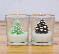 Christmas Candle Green And Coffee ,Paraffin Random Color
