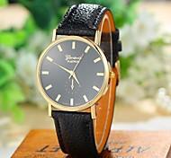 Women's Fashion Style Geneva Leather Band Quartz Analog Wrist Watch (Assorted Colors)