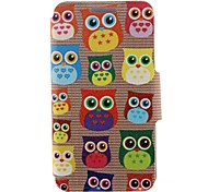 Kinston Cute Owl Pattern PU Leather Full Body Case with Stand for iPhone 4/4S