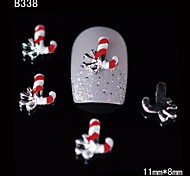 10pcs Beauty Xmas Red Sires 3D Alloy Nail Design DIY Nail Art Decoration