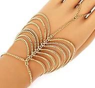 Women's European Multilayer Tassel Hand Chain Ring Bracelet