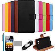 coco Fun® ultra slim einfarbig Tasche aus echtem Leder mit Film, Kabel und Stylus für Samsung Galaxy Y S5360
