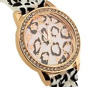 padrão de leopardo rodada banda quartzo borracha mostrador do relógio de moda feminina